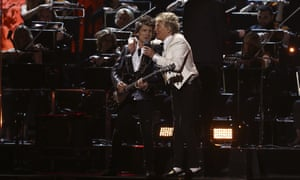 Closing the show … Rod Stewart and Ronnie Wood perform on stage at the Brit Awards 2020.