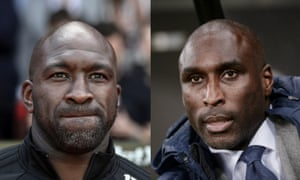 The former West Bromwich Albion manager Darren Moore, left, and Sol Campbell, the manager of Macclesfield Town.