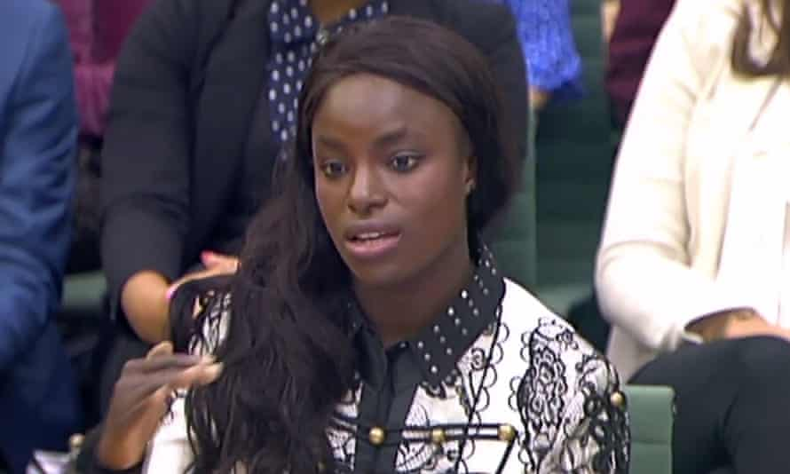 Eniola Aluko gives evidence to the digital, culture, media and sport committee in October 2017.