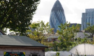 Spitalfields City Farm with the Gherkin building visible in the background