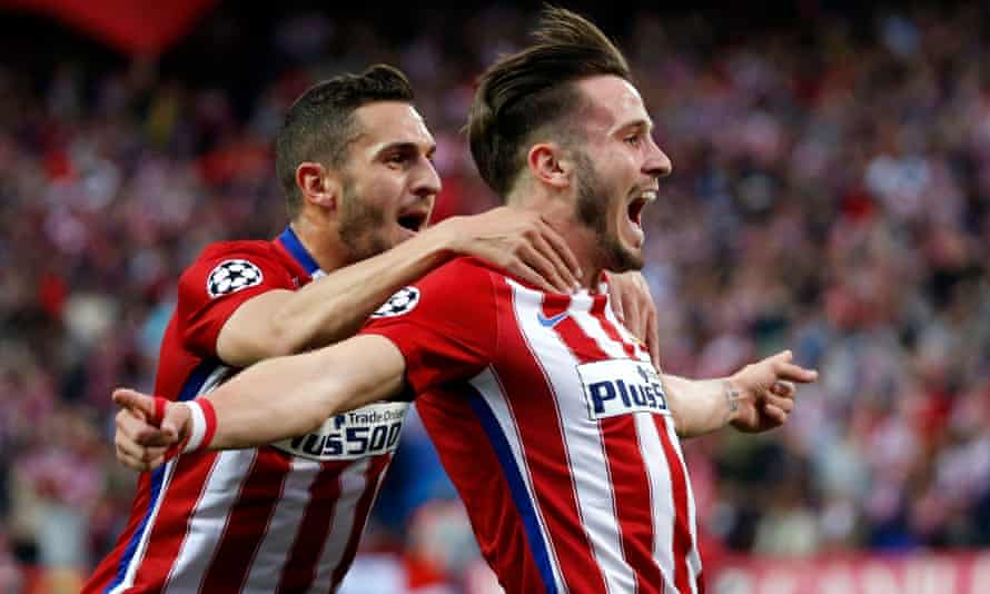 Atlético Madrid's Saúl Níguez, right, celebrates his stunning early strike against Bayern Munich with team-mate Koke.