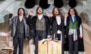 Charles Castronovo as Rodolfo, Andrzej Filończyk as Marcello, Peter Kellner as Colline and Gyula Nagy as Schaunard in La Bohème.