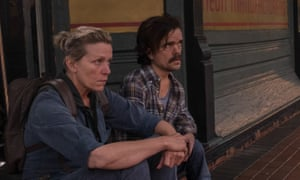 Frances McDormand and Peter Dinklage in Three Billboards Outside Ebbing, Missouri.
