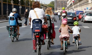 People cycling on a car-free day in Paris