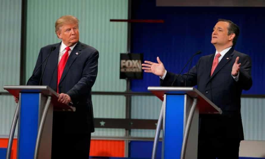 Trump and Cruz during the Republican debate in North Charleston