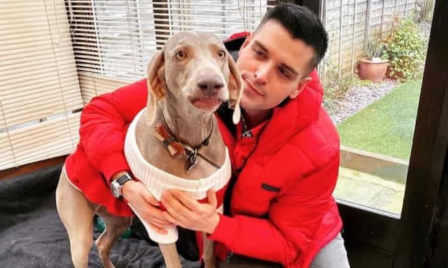 Jordan Adams from Sutton in Surrey with his dog Jasmine.