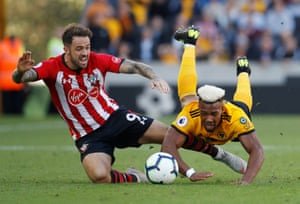 Southampton's Danny Ings takes out Wolverhampton Wanderers' Adama Traore at Molineux Stadium. Wolves won the match 2-0 thanks to strikes from Ivan Cavaleiro and Jonathan Castro Otto.
