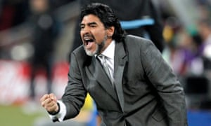 Diego Maradona as head coach of the Argentinian national team celebrating a goal during a Round of 16 match between Argentina and Mexico at the 2010 World Cup.