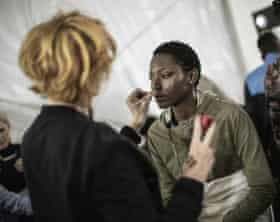 A model backstage at South African fashion week