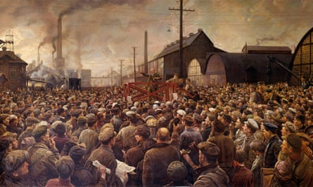Russian Revolution: A painting by Isaak Brodsky (1883-1939) depicts Lenin speaking to the workers of the Putilov factory, in Petrograd, 1917. There are concerns of a 'strike back' as gulf between the rich and the poor widens.