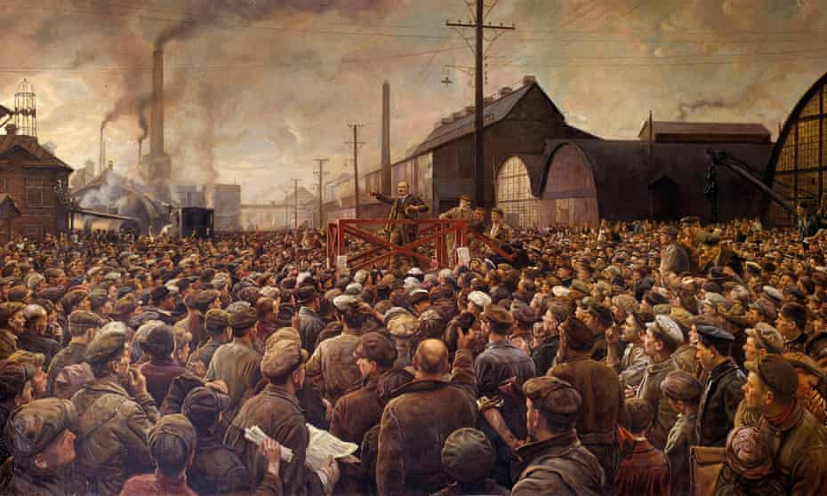 Lenin speaking to the workers of the Putilov factory in in Petrograd in 1917. Painting by Isaak Brodsky (1883-1939).