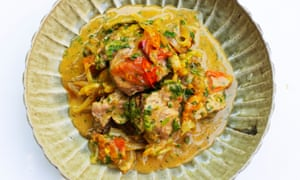 'The coconut milk has a softening effect': lamb with tomato, coconut and coriander.