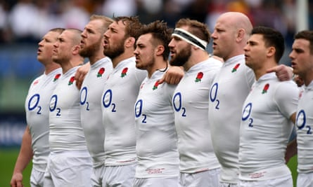 The England rugby team sing God Save the Queen