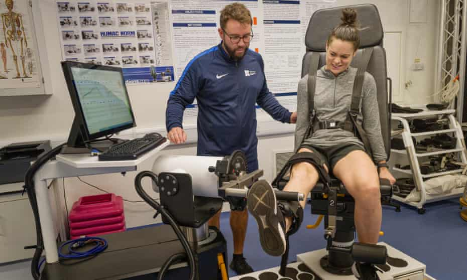 The former England international Claire Rafferty, who suffered three ACL injuries, with Dr Andrew Greene at the University of Roehampton.