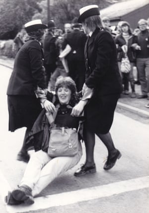 Kate Geraghty being arrested during a Greenham Common protest in the 1980s