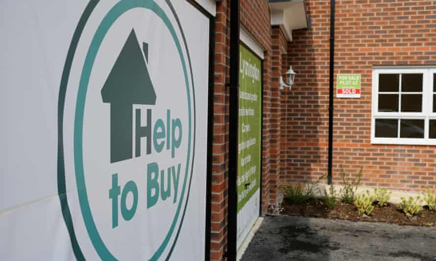 Help-to-buy marketing signs on a housing development