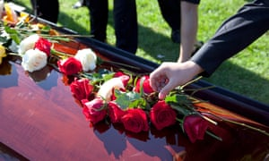 Shot of roses and flowers on top of coffin