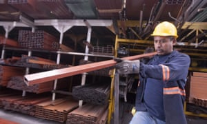 A man works in a steel distribution factory in Monterrey in northern Mexico.
