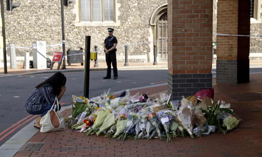 Floral tributes near the scene of an attack in Forbury Gardens park in Reading, 23 June 2020