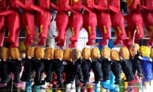 Piñatas that resemble Donald Trump are displayed in a store in Tijuana, Mexico. Analysts have suggested a number of ways Mexico could retaliate against the US president.