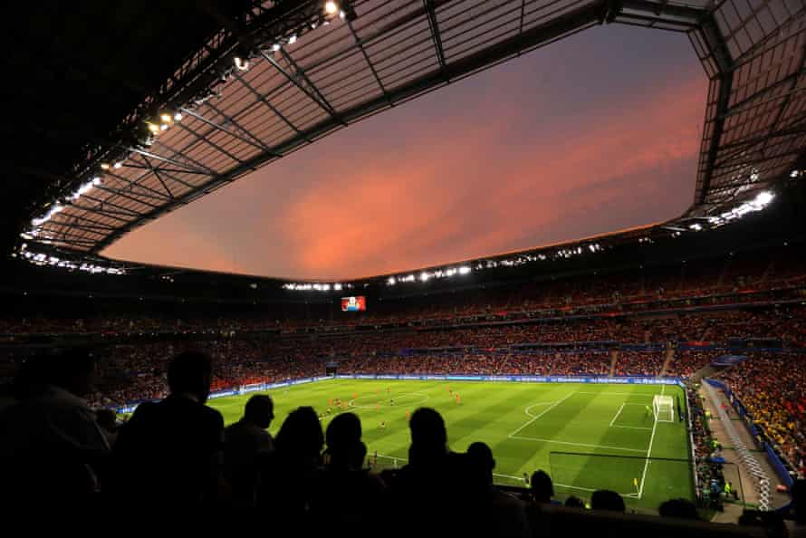 A general view inside the stadium at sunset during the Semi Final match between Netherlands and Sweden at Stade de Lyon.