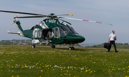 The new helicopter service to the Isles of Scilly takes off from Land's End.