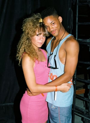 Baby Mariah with Will Smith at Kiis FM Endless Summer Jam September 1988, wearing a yellow scrunchie and a tank dress borrowed from her friend Josefin.