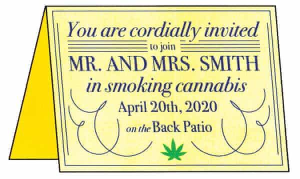 illustration of cannabis party invitation