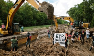 Activists from the L'eau est la vie arts camp protest construction of the Bayou Bridge pipeline in the Atchafalaya Basin in south Louisiana.