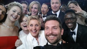 A truly Oscar worthy selfie which quickly became the most shared image online. Ellen DeGeneres poses for a selfie taken by Bradley Cooper with (clockwise from L-R) Jared Leto, Jennifer Lawrence, Channing Tatum, Meryl Streep, Julia Roberts, Kevin Spacey, Brad Pitt, Lupita Nyong'o, Angelina Jolie, Peter Nyong'o Jr. during the 86th Annual Academy Awards in Hollywood, California.