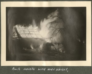 The first of three pictures of burning buildings taken during the retreat of February 1944