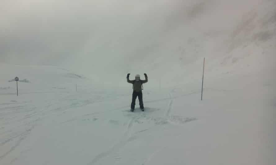 Masterclass: Katie Forster shows how it's done, standing stock still in a snowdrift.