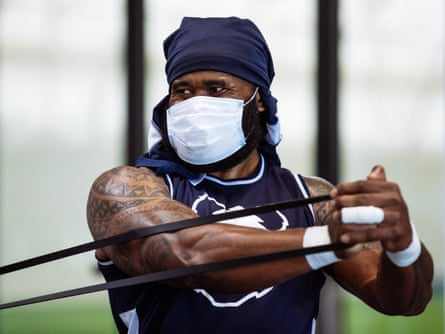 Semi Radradra in action in the gym as Bristol Bears start to use their new almost completed training centre in July.