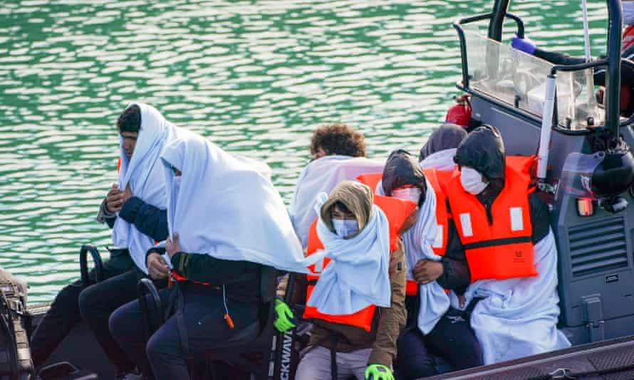 A group of people thought to be migrants are brought in to Dover, Kent, by Border Force.