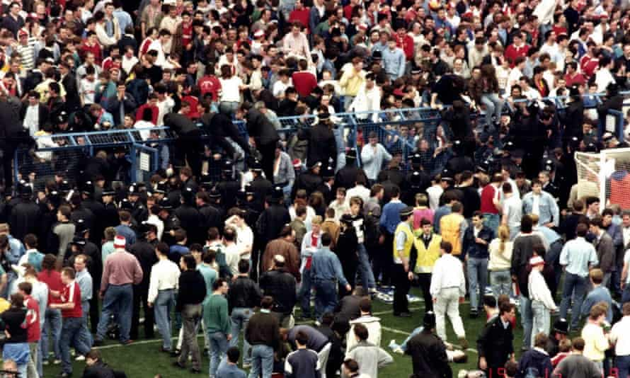 The Leppings Lane terrace at the Hillsborough stadium during the disaster on 15 April 1989.