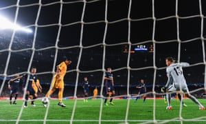 Luis Suárez of Barcelona scores their equaliser.