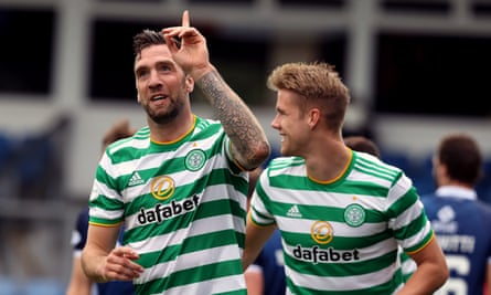 Shane Duffy celebrates with Kristoffer Ajer after putting Celtic 3-0 up at Ross County