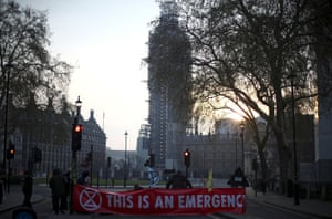 A blocked road at Parliament Square in London