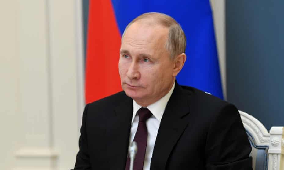 The Russian president, Vladimir Putin, on 21 December 2020.