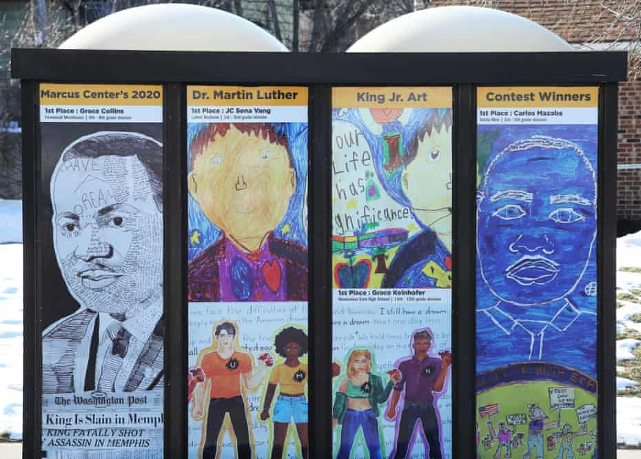 Art from MLK Jr students adorns a bus stop shelter near the school.