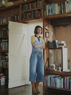 Knitted polo neck, £275, chintiandparker.com. Denim culottes, £224, Current/ Elliott at net-a-porter.com. Boots, £250, arket.com. Capri gold hoops, £27, luvaj.com. Belt, £185, frame-store.com