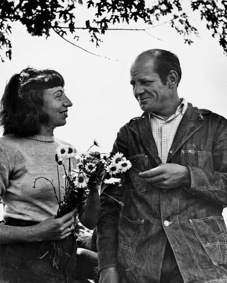 Lee Krasner and Jackson Pollock photographed in their Springs garden by Wilfred Zogbaum, c. 1949