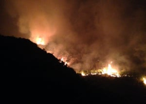 Fire spreads on Saddleworth Moor on Tuesday night