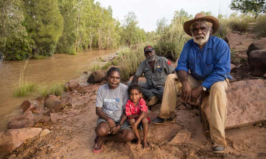 Josie Davey Green, Samuel Oakley (4), Casey Davey and Jack Green beside the McArthur River in Borroloola.