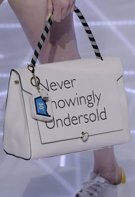 A handbag uses the John Lewis slogan.