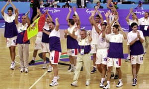 The Spanish basketball team celebrate their victory over Russia in the final of the 2000 Paralympics in Sydney.