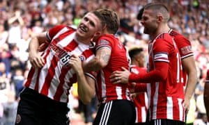 Sheffield United's John Lundstram celebrates scoring his side's first goal.