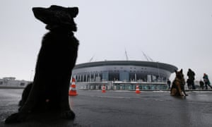 Dogs outside the Zenit Arena stadium in St Petersburg, Russia.