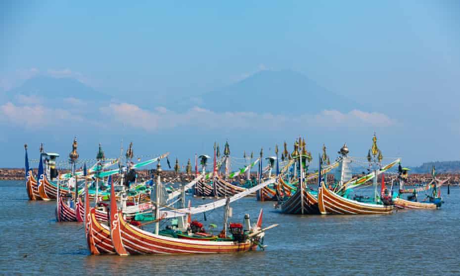 Traditional wooden fishing boats, Perancak village, Bali, Indonesia