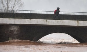 Water levels run high on the River Usk in Brecon.